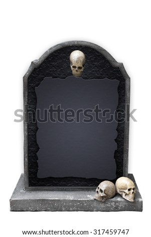 gravestone with skull isolated on white background with clipping path halloween concept festival - stock photo