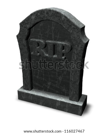 gravestone with the letters rip on white background - 3d illustration - stock photo