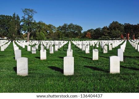 Gravestones at Arlington National Cemetery in Arlington, Virginia, USA. - stock photo