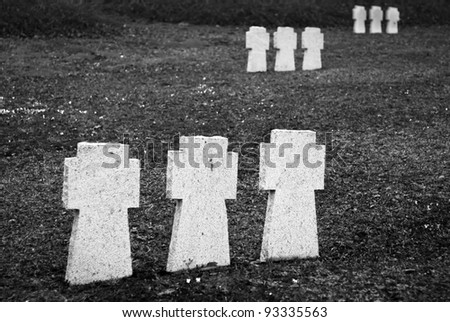 graveyard crosses on cemetery from first world war - stock photo