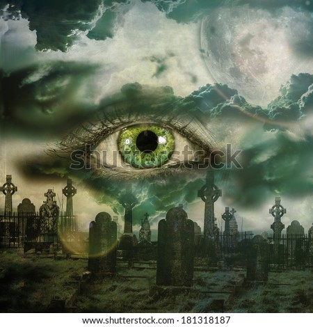 Graveyard with full moon and dark clouds on female face. Life and death concept. - stock photo