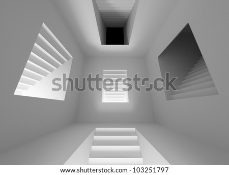 Gray abstract architecture interior with lighting stairway portals - stock photo