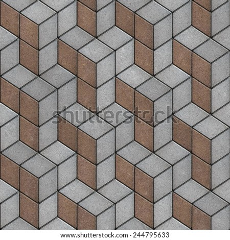 Gray and Brown Rhomb Combined Slabs. Seamless Tileable Texture. - stock photo