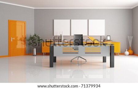 gray and orange office space - rendering - stock photo