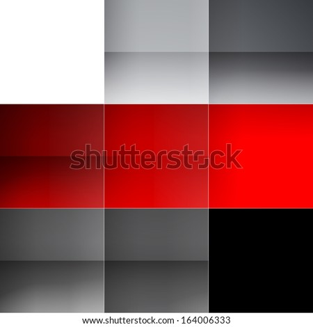 Gray and red squares abstract background - stock photo