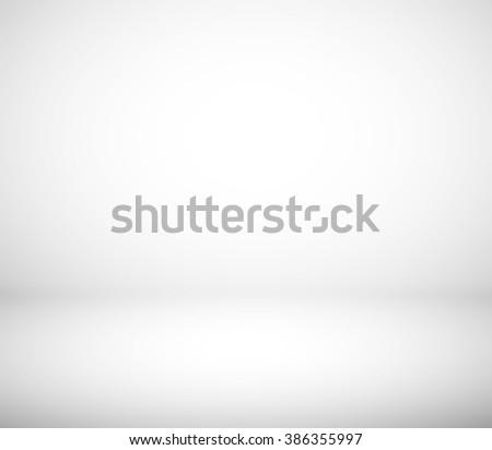 Gray and white gradient studio room background - stock photo