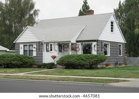 Gray and White House - stock photo