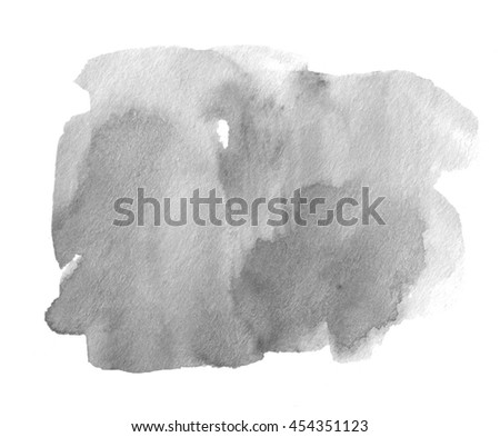 Gray black watercolor ink dark hand drawn paper grain texture isolated stain on white background for decoration, text design, template. Abstract water color grunge brush paint square splash element - stock photo