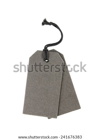 Gray blank tag isolated on white background - stock photo