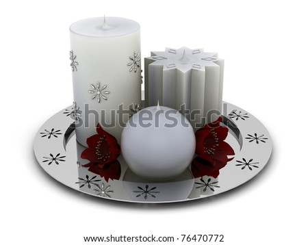 Gray candles on a chrome plate - stock photo