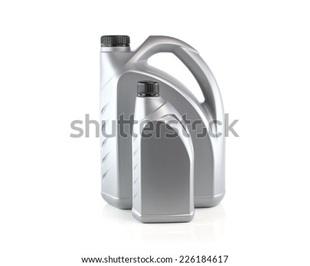 Gray canister with engine oil isolated on white background - stock photo