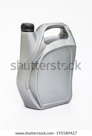 Gray canister with engine oil on white background with a path for the label. - stock photo