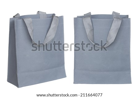 gray canvas bag isolated on white background with clipping path - stock photo