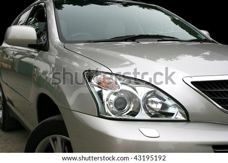Gray car with light reflection. - stock photo