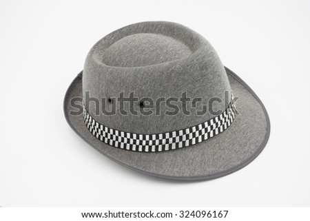 Gray color Men's classic fedora isolated on white background - stock photo