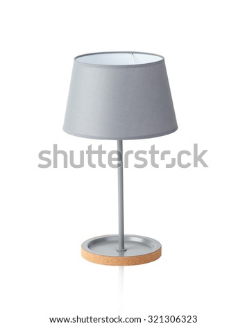 Gray color table lamp isolated on white background - stock photo
