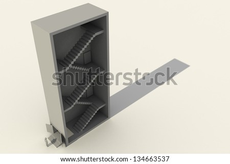 Gray 3d man is standing near a high building with a ladder. Abstract picture. - stock photo