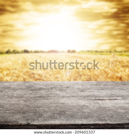 gray desk and sunset  - stock photo