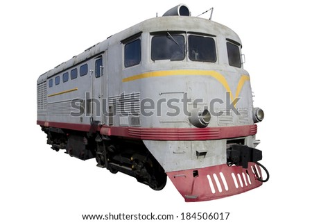 gray diesel locomotive for design - stock photo