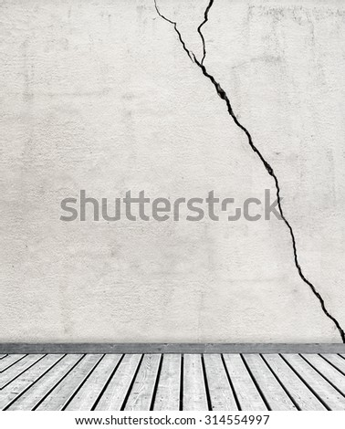 gray dirty  grunge texture stucco wall and wooden floor - stock photo