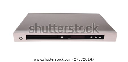 Gray dvd player isolated on white background - stock photo