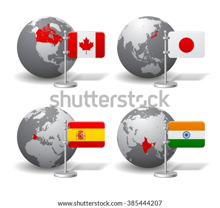 Gray Earth globes with designation of Canada, Japan, Spain and India location, with state flags - stock photo