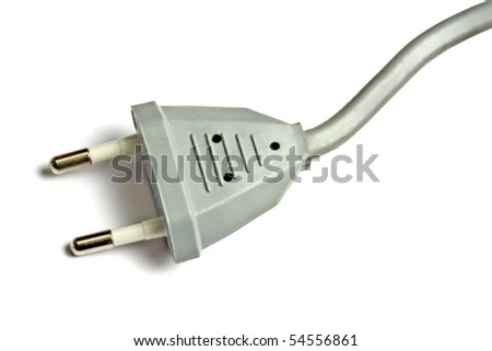 Gray electric plug isolated on white background - stock photo