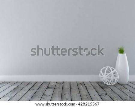 gray empty interior with a big vase. 3d illustration - stock photo