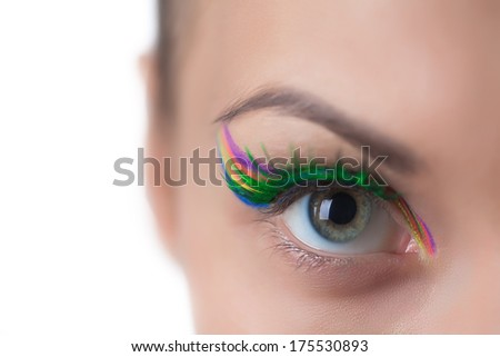 Gray-eyed girl with bright make-up, close-up - stock photo