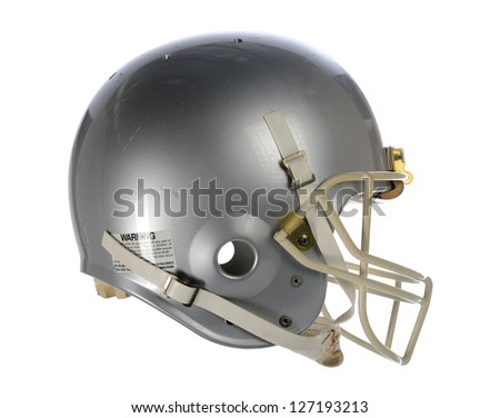 Gray football helmet isolated over white background - stock photo