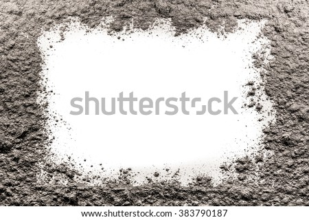 Gray frame made of ash on a empty white background - stock photo