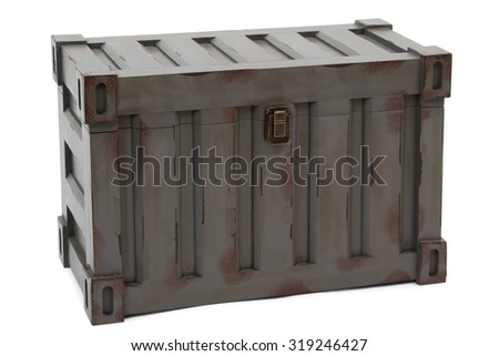 gray freight containers isolated on white background - stock photo