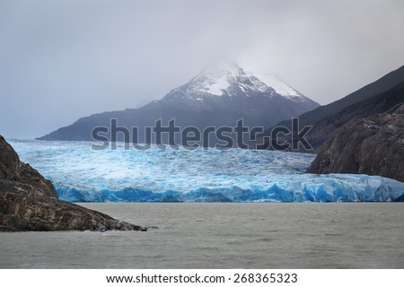 Gray glacier, Torres del Paine National Park, Patagonia, Chile - stock photo