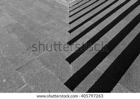 Gray granite stone steps - stock photo