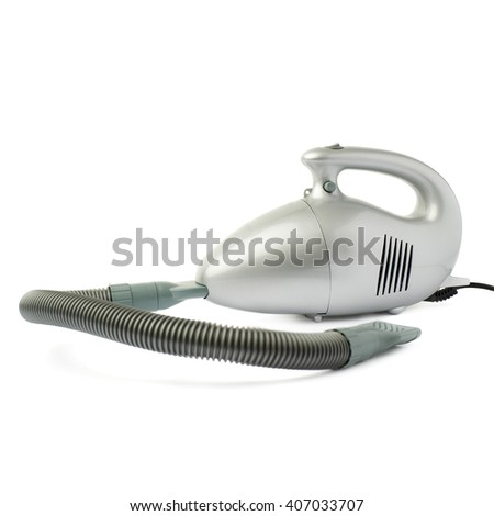Gray Hand held small vacuum cleaner isolated over the white background - stock photo