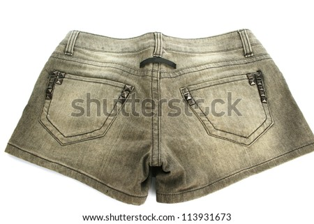 Gray jeans shorts isolated on white background. - stock photo