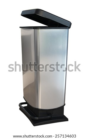 Gray kitchen dustbin isolated on white background - stock photo