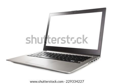 gray laptop isolated on white - stock photo