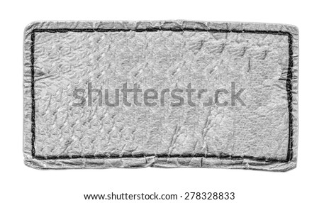 gray leather label isolated on white background - stock photo