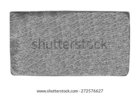 gray leather label on white background - stock photo