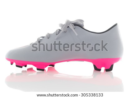 gray leather soccer shoes,Football boots. Soccer boot, isolated on white background - stock photo