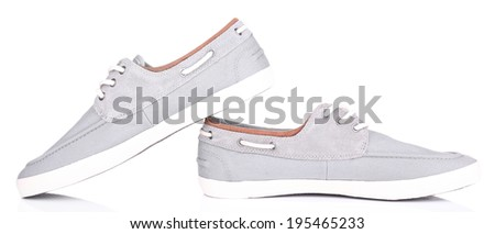 Gray men shoes isolated on white - stock photo