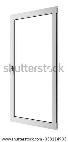 gray metallic window isolated on white background - stock photo