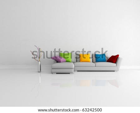 gray modern couch with  pillow in a bright empty living room - rendering - stock photo