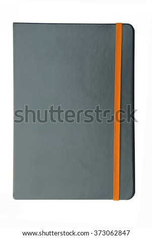 gray note book with elastic band  isolate on white background - stock photo
