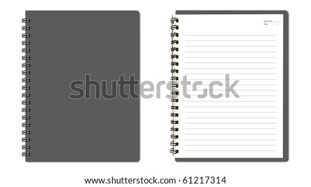 Gray notebook (blank paper) - stock photo