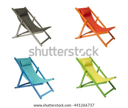 Gray, Orange, Blue and Lime Green wooden Beach Chairs Isolated on white background - stock photo