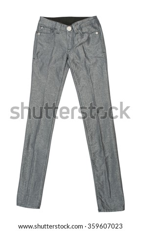 gray pants isolated on white background - stock photo