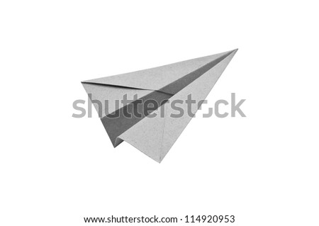 Gray Paper aircraft, Paper Plane on a white background, - stock photo