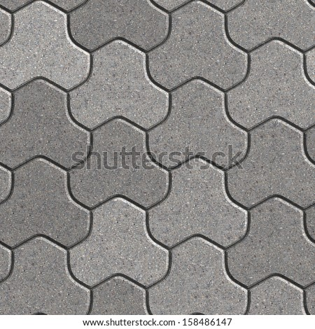 Gray Pavement Consisting of Three Combined Hexagons. Seamless Tileable Texture. - stock photo